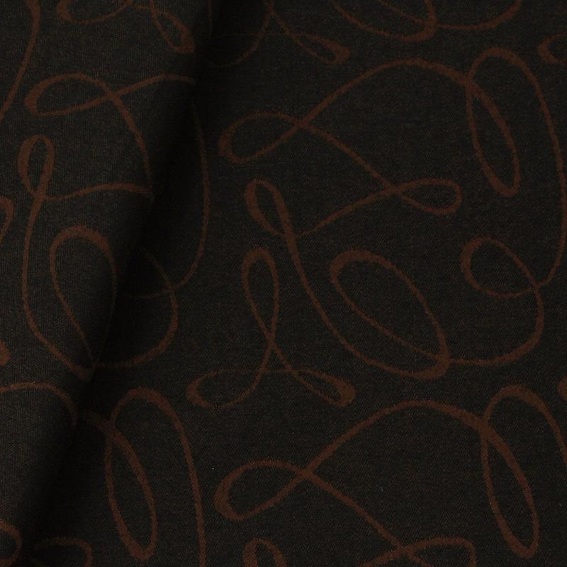 Tecido jacquard riscado - marrom/preto - Impermeável - Coleção Panamá