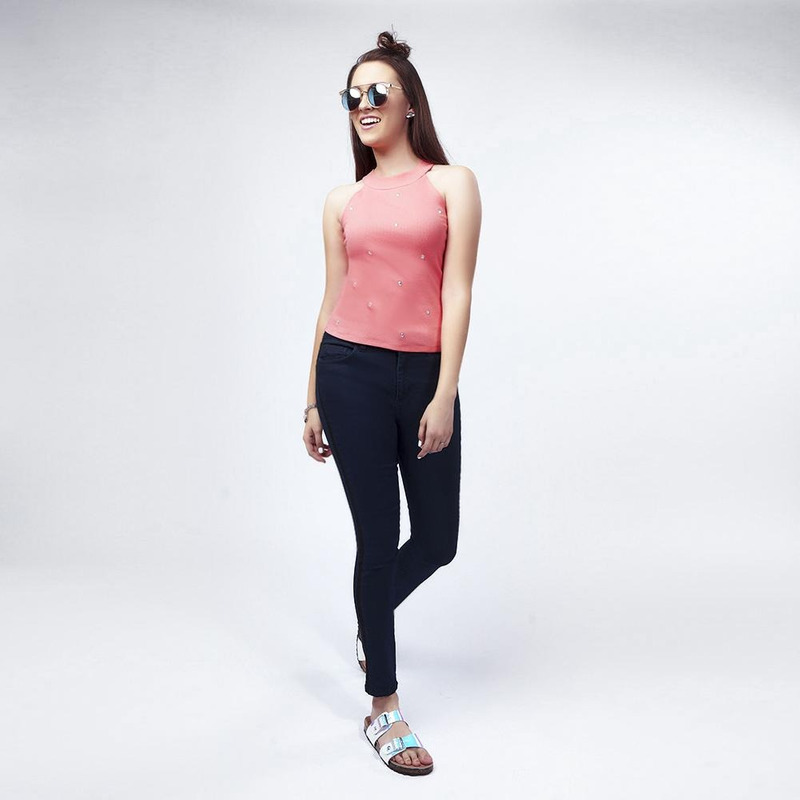 Blusa Rosa Con Pedreria 019443