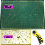 Base de Corte A3 30x45 + Régua Amarela 15x30 + Cortador Manual