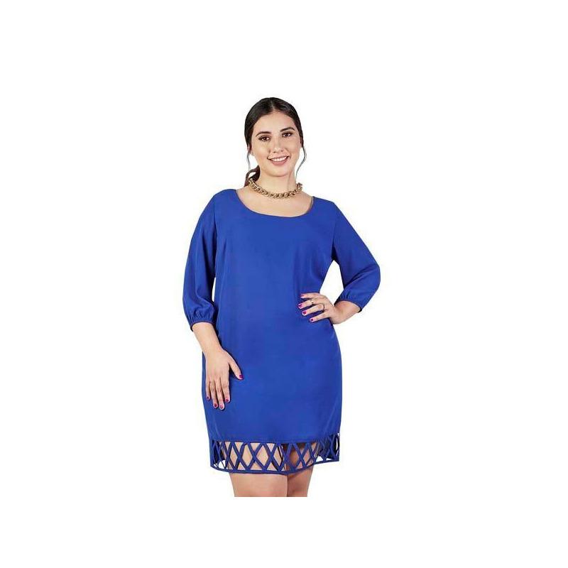 Vestido corto azul manga 3/4 012642