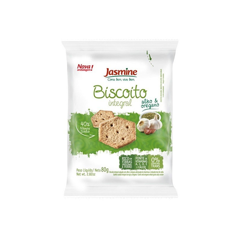 Biscoito Salgado Integral Alho e Oregano - 80g Jasmine