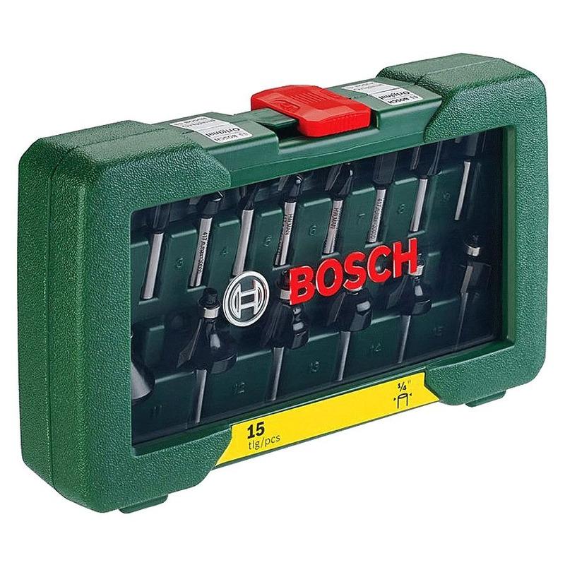 """Jogo de Fresas 1/4"""" para Tupia 15 Peças - 2.607.019.468 - Bosch"""