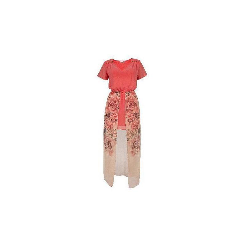 Vestido largo coral estampado 012463