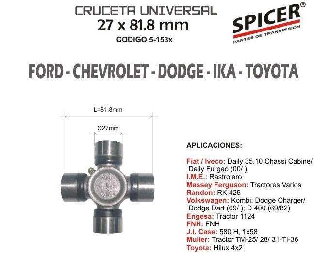 CRUCETA UNIVERSAL FALCON F100 D1500 CHEVROLET SPICER