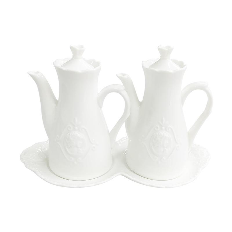 Jogo 3 Pcs. Galheteiro Queen De Porcelana Super White 4108188