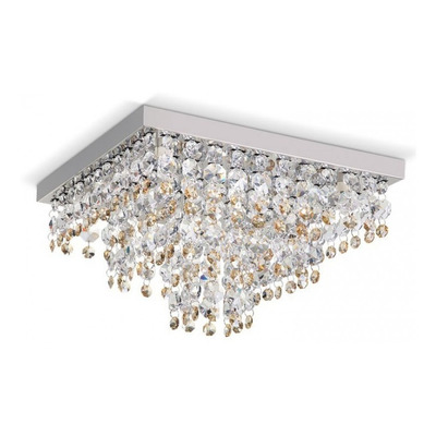 Lampara Plafon Lluvia Cairel Cristal Ambar 5 Luces Led Pal