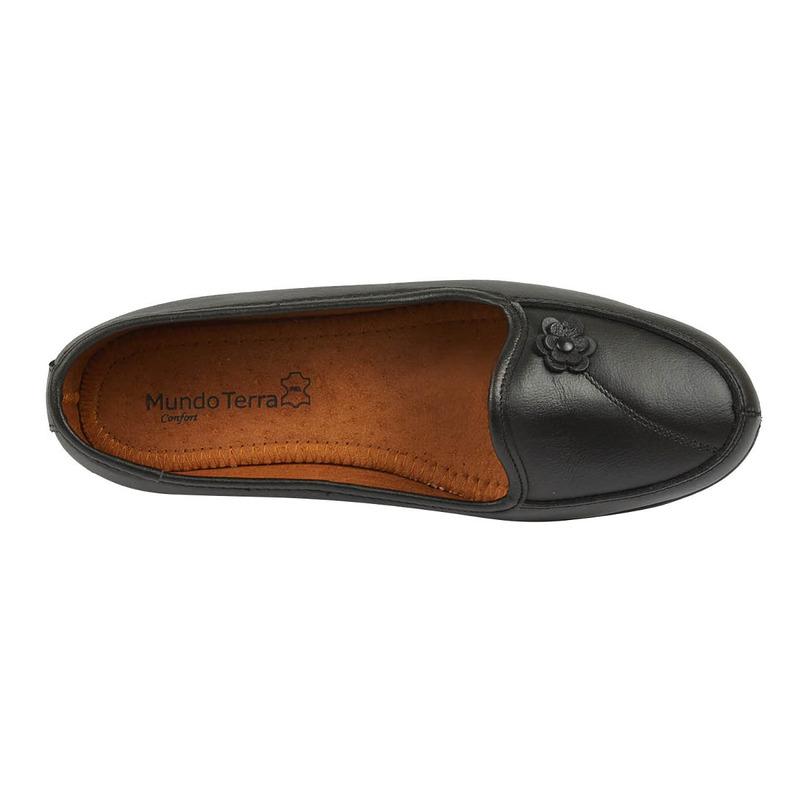 Zapatilla negra con flor  016630