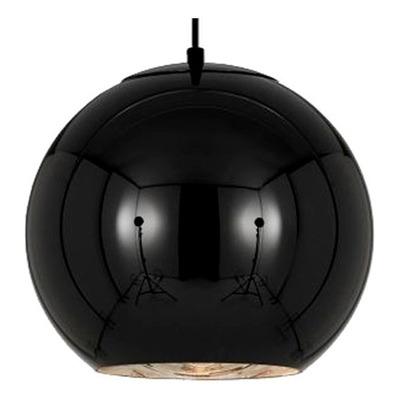 Colgante Vidrio Negro 40cm Espejo Deco Moderno Apto Led Tom