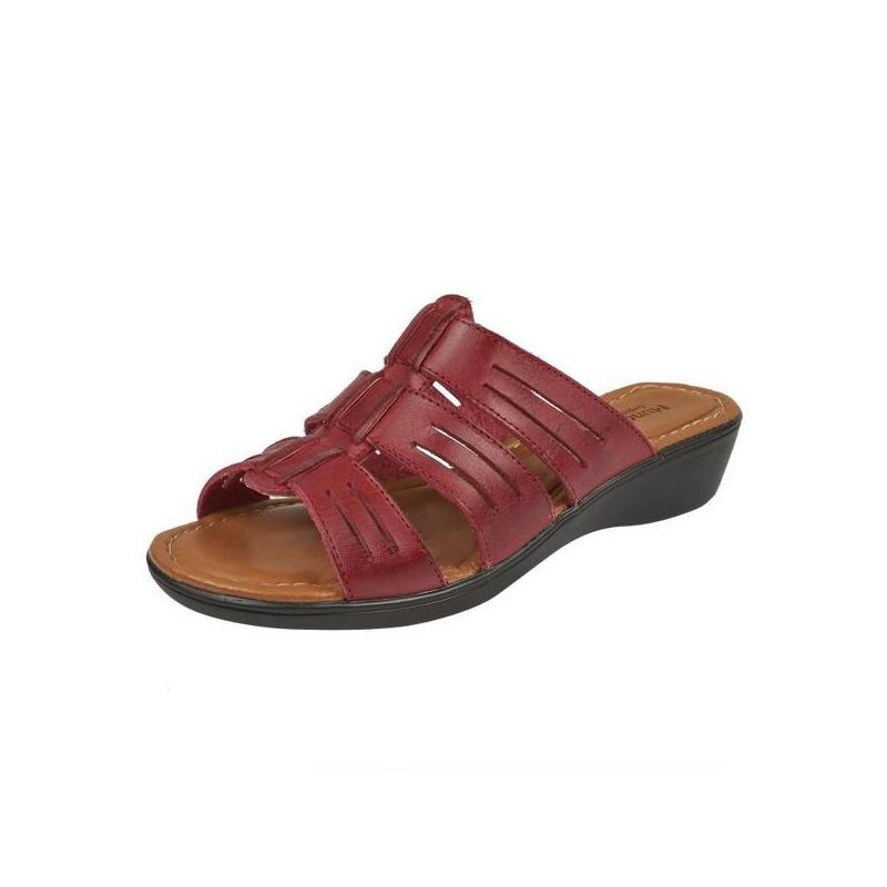 Sandalia plataforma vino piel  016684