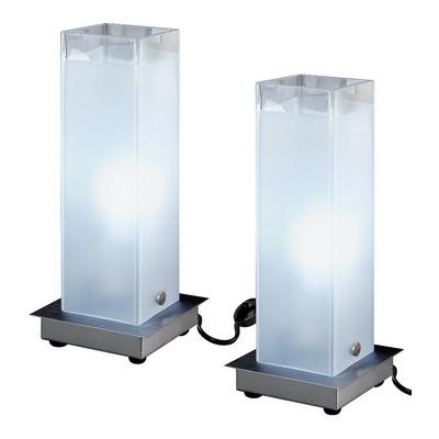 Pack X 2 Velador Vidrio Acero Moderno Apto Led Luz Desing
