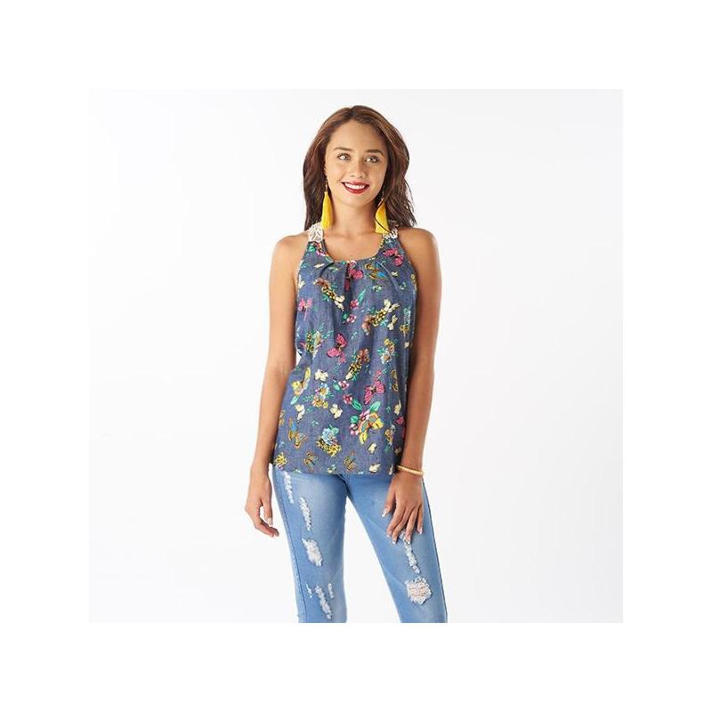 Blusa azul estampada sin manga 015212
