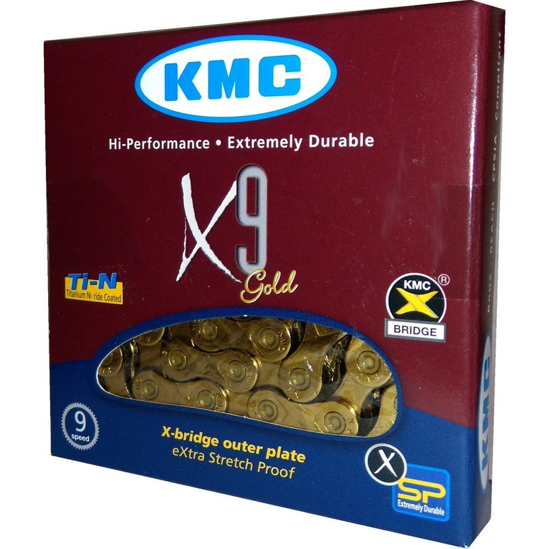 CORRENTE KMC X9 TI-N GOLD / DOURADO 116 ELOS - 9V