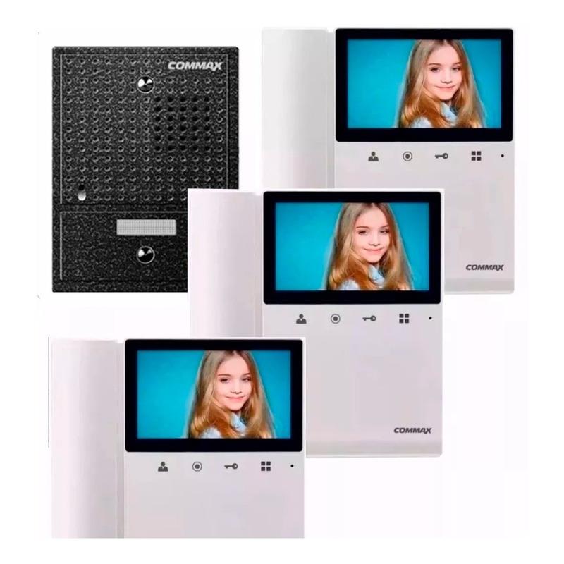 Commax Portero Electrico Visor Kit Frente + 3 Monitores 43k