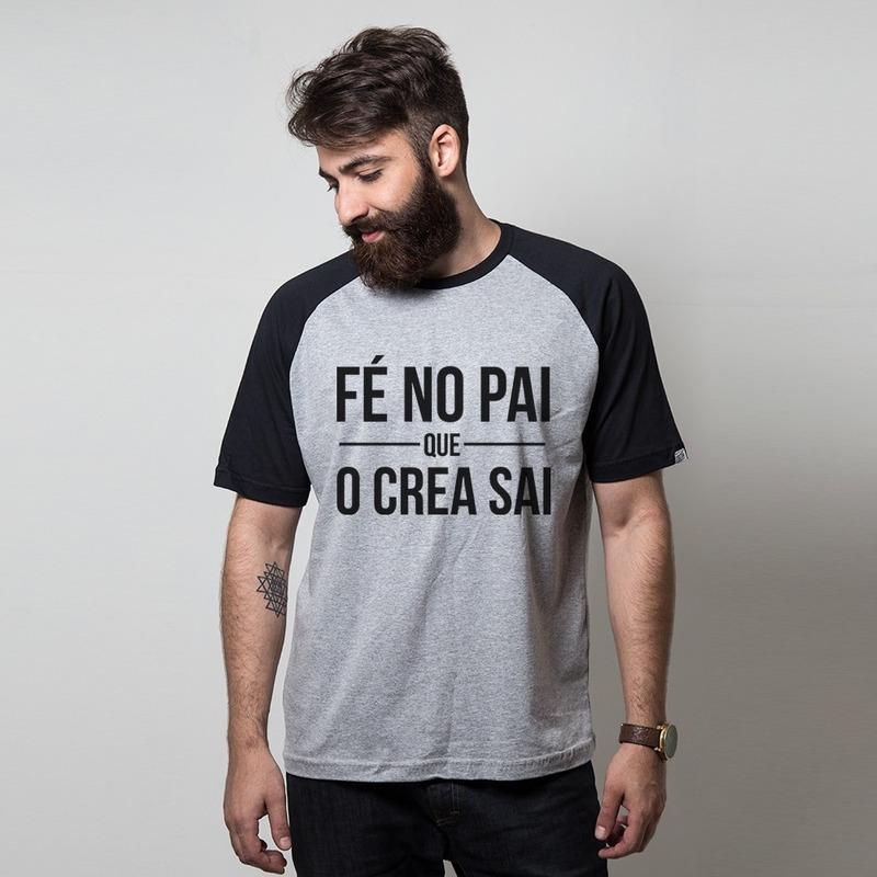 CAMISETA RAGLAN CINZA - FÉ NO PAI