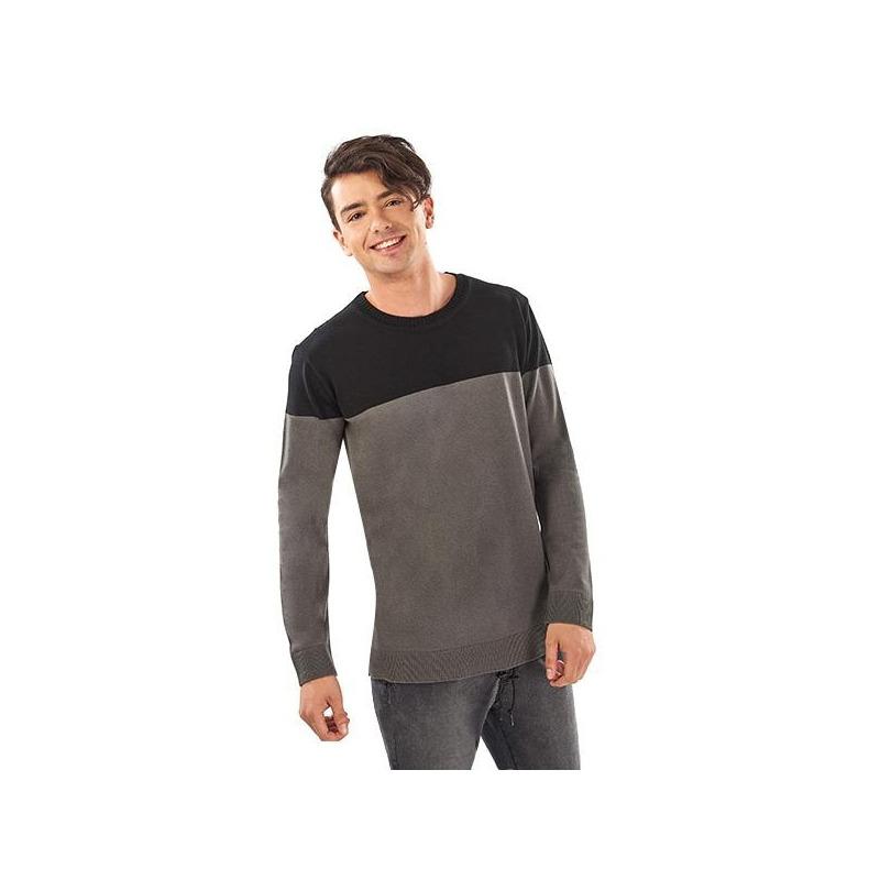 Suéter bicolor gris y negro 014560
