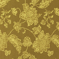 Tecido jacquard  floral em ramos -  amarelo/marrom - Impermeável - Coleção Panamá