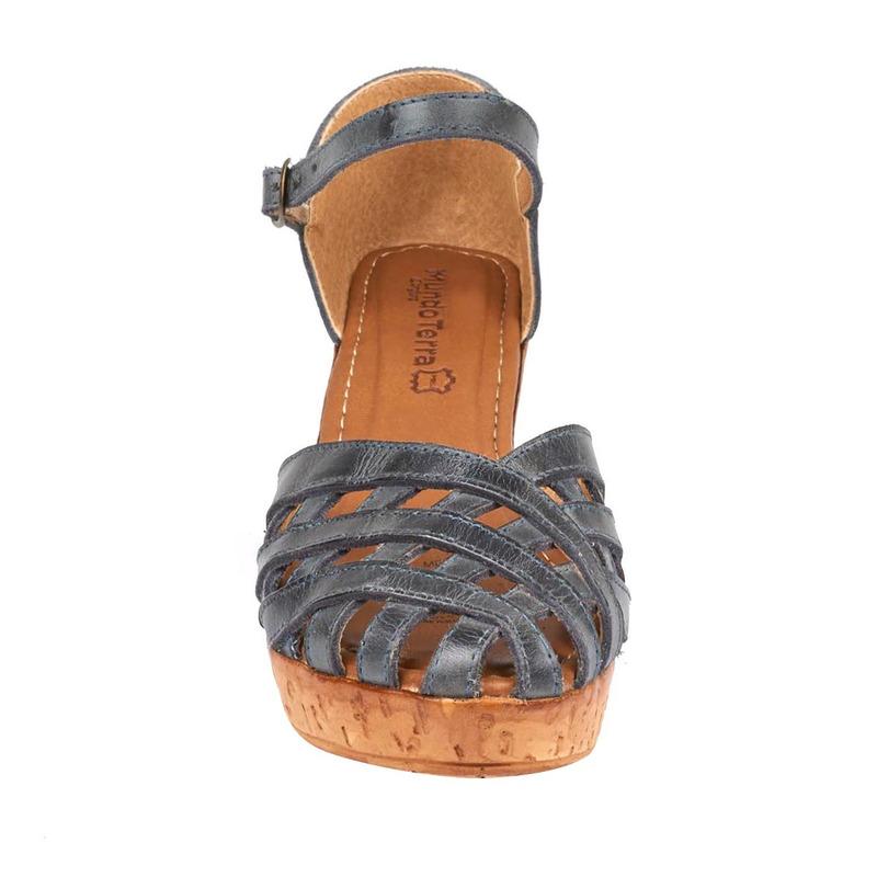 Sandalia plataforma azul metálico  016625