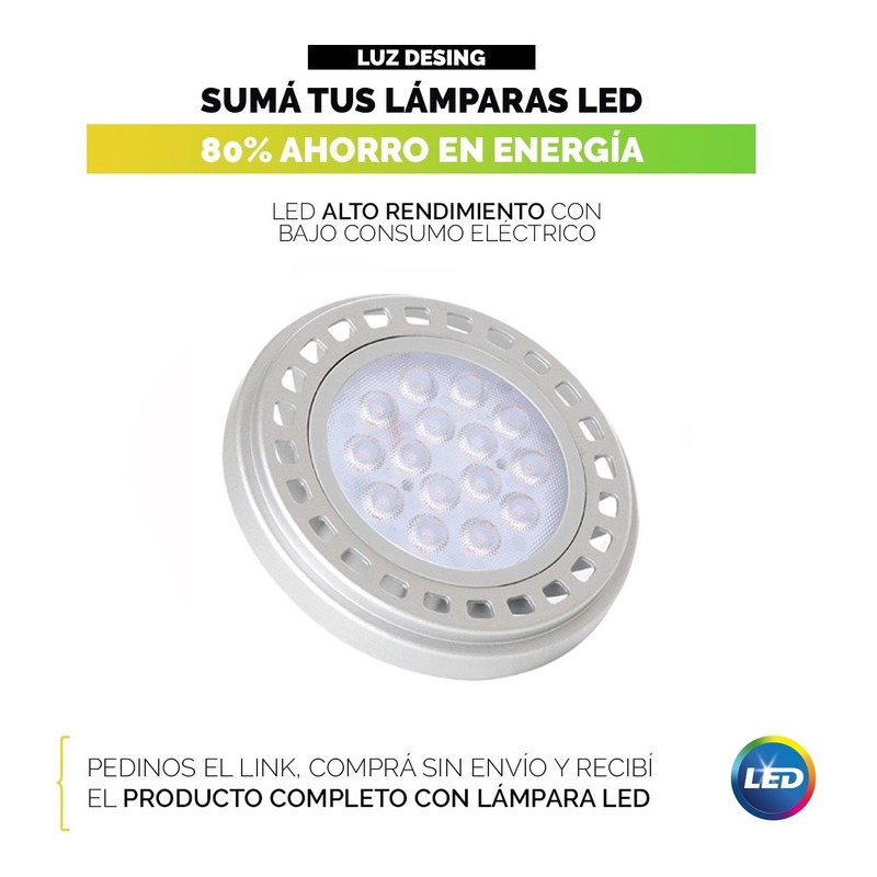Spot Plafon Cardanico Embutir Acero 3 Luces Apto Led Ar111