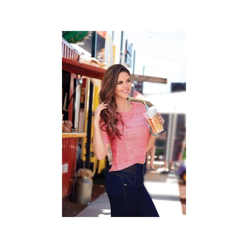 Blusa rosa manga corta  003450