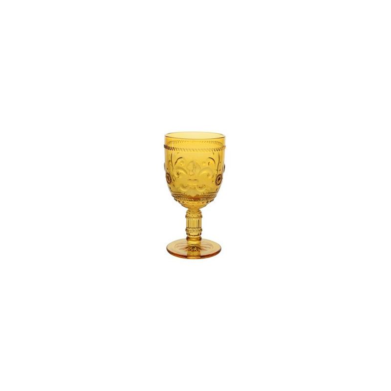 Jogo 6 Taças Flor de Lis 260ml Ambar Em Vidro - Lyor 4106003
