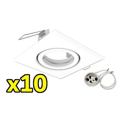 Packx10 Spot Embutir Cuadrado Blanco Zocalo Gu10 Sin Lampara