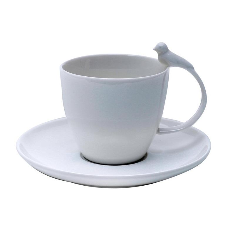 Jogo 6 Xícaras de Chá de Porcelana Birds 200Ml - Bon Gourmet 31017237