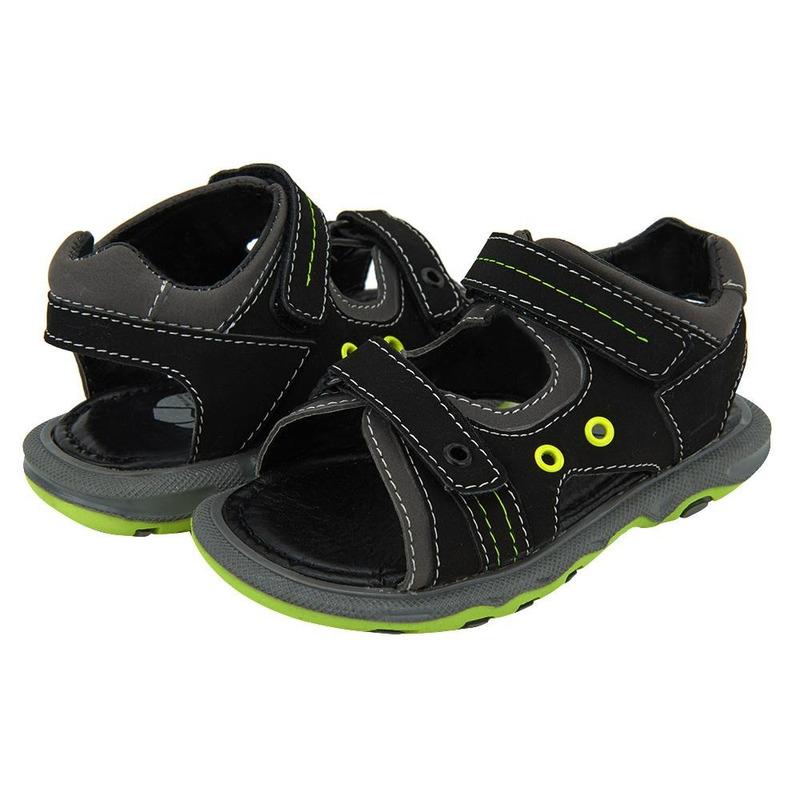 Sandalia Negra Con Detalles Verdes 014701