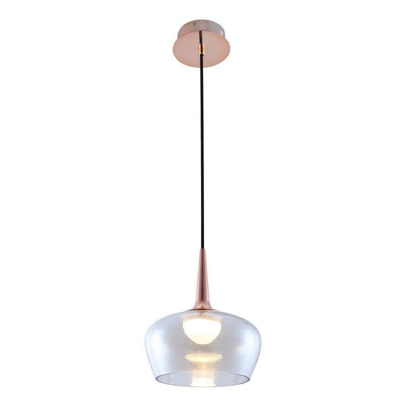 Lámpara Colgante Charito Vidrio Cobre Led 7w Deco Moderno