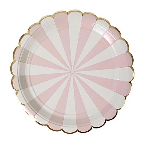 Platos Stripe Rosa Grandes
