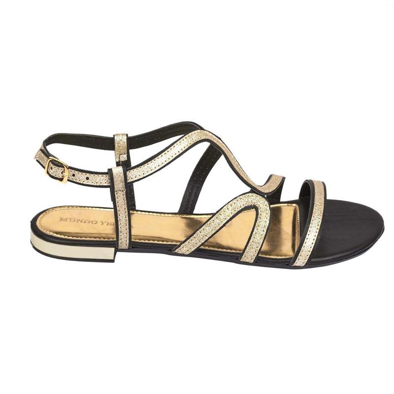 Sandalia piso negra con dorado  016790