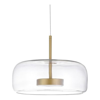 Colgante Evreia Vidrio Led 12w Dorado Deco Moderno Lk