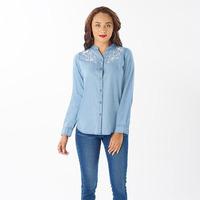 Blusa azul bordada manga larga 019124