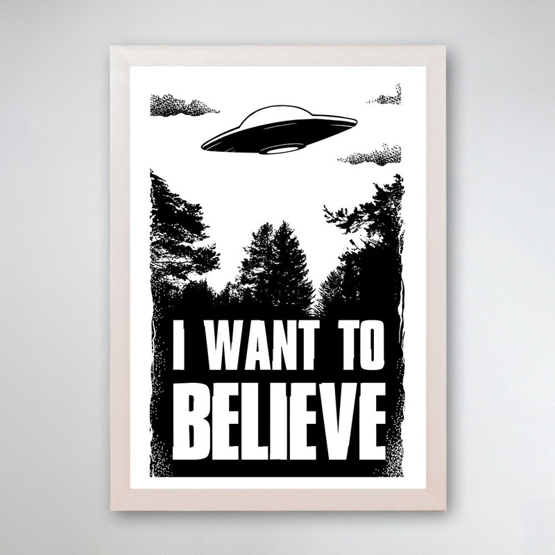 PÔSTER COM MOLDURA - I WANT TO BELIEVE