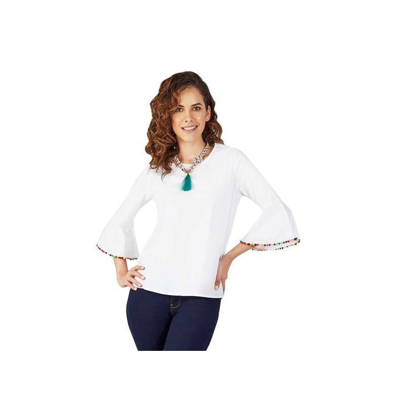 Blusa blanca estampada manga 3/4 015134