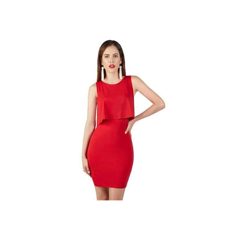 Vestido corto rojo ajustado  015409