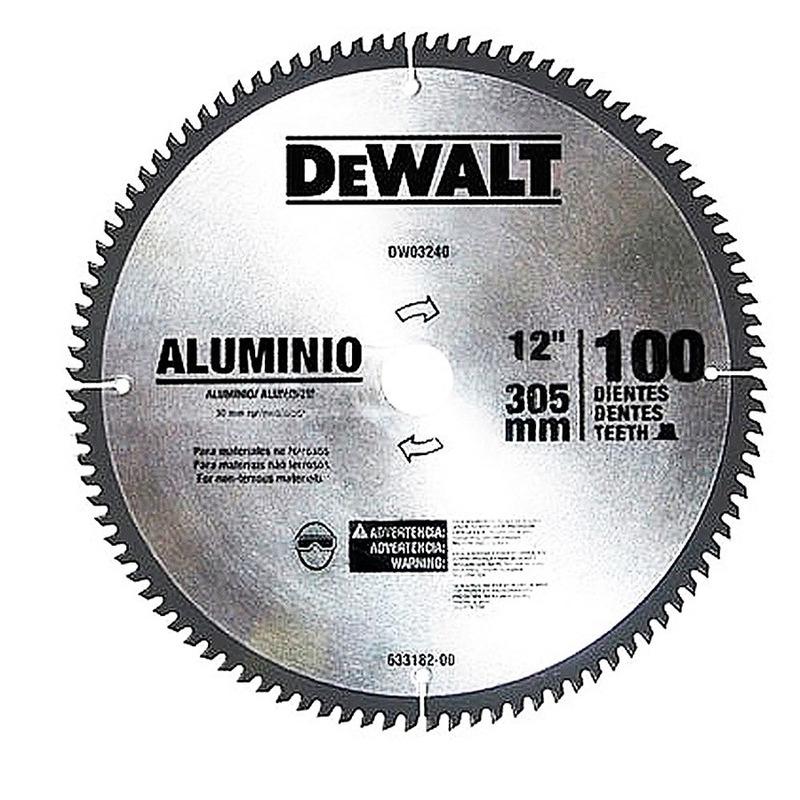 """Disco de Serra para Alumínio 12"""" com 100 Dentes - DW03240 - DeWalt"""