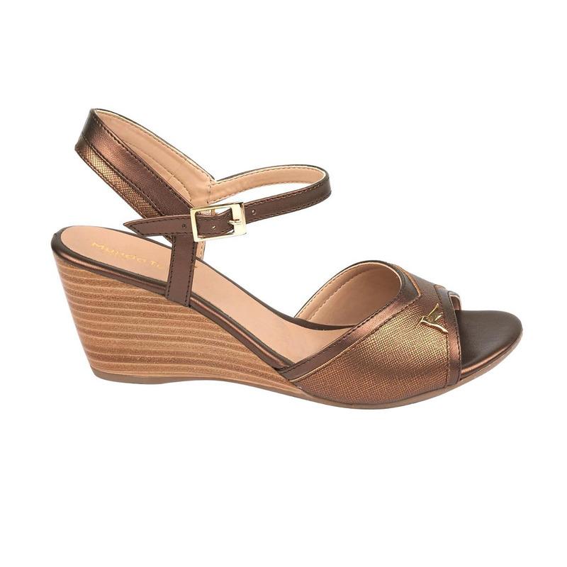 Sandalia plataforma bronce con pulseras 016719