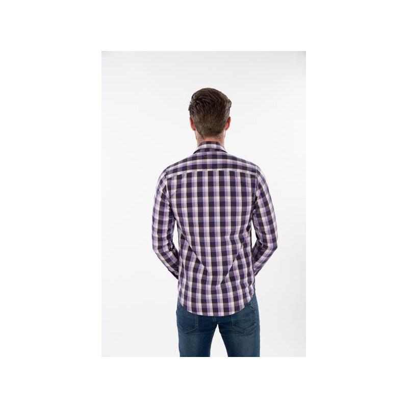 Camisa morada multicolor a cuadros 014637