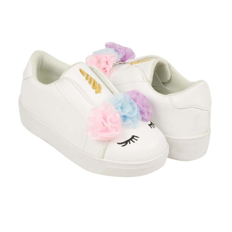 Sneakers blancos estampados con flores de tela 018593