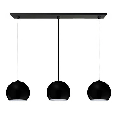 Colgante 3 Luces Bocha 15cm Negro Moderno Apto Led E-27