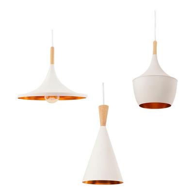 X 3 Lámparas Colgantes Modernas Beat Wide Blancas Tom Dixon