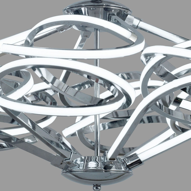Colgante Led Moderno 200w Alta Potencia Diagrama Cromo 2071