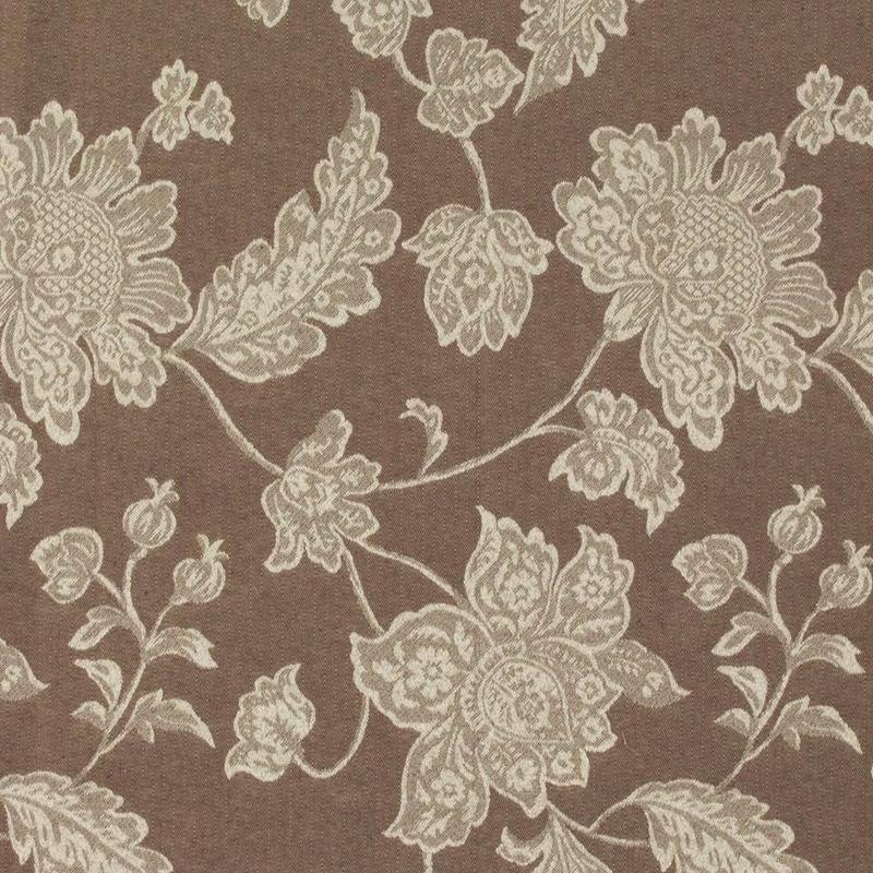 Tecido jacquard  floral em ramos - bege/marrom - Impermeável - Coleção Panamá
