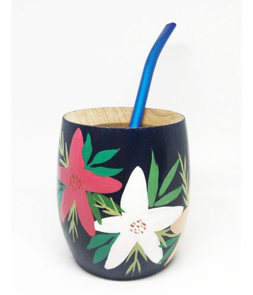 Mate De Madera Algarrobo Pintado Mano Con Bombilla Floral