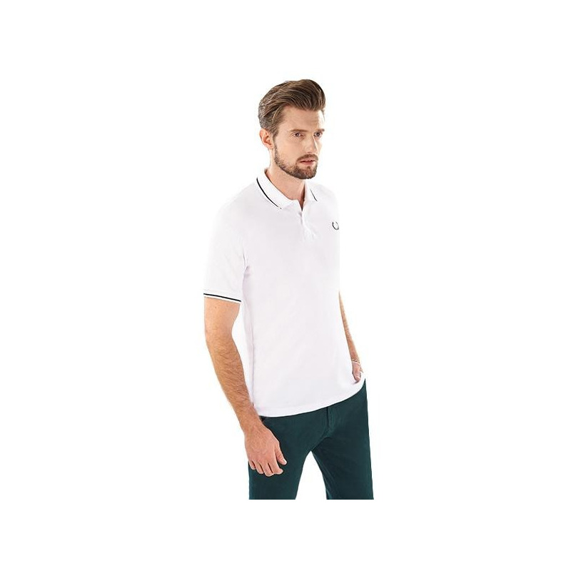 Camisa blanca línea negra manga corta 014541