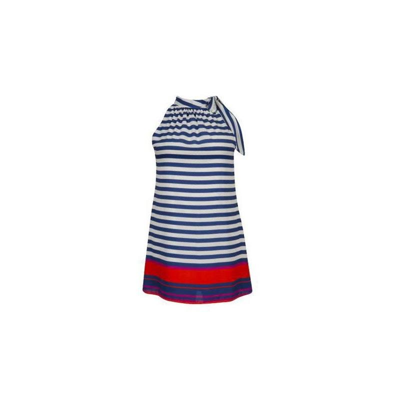 Vestido líneas multicolor sin manga 012473