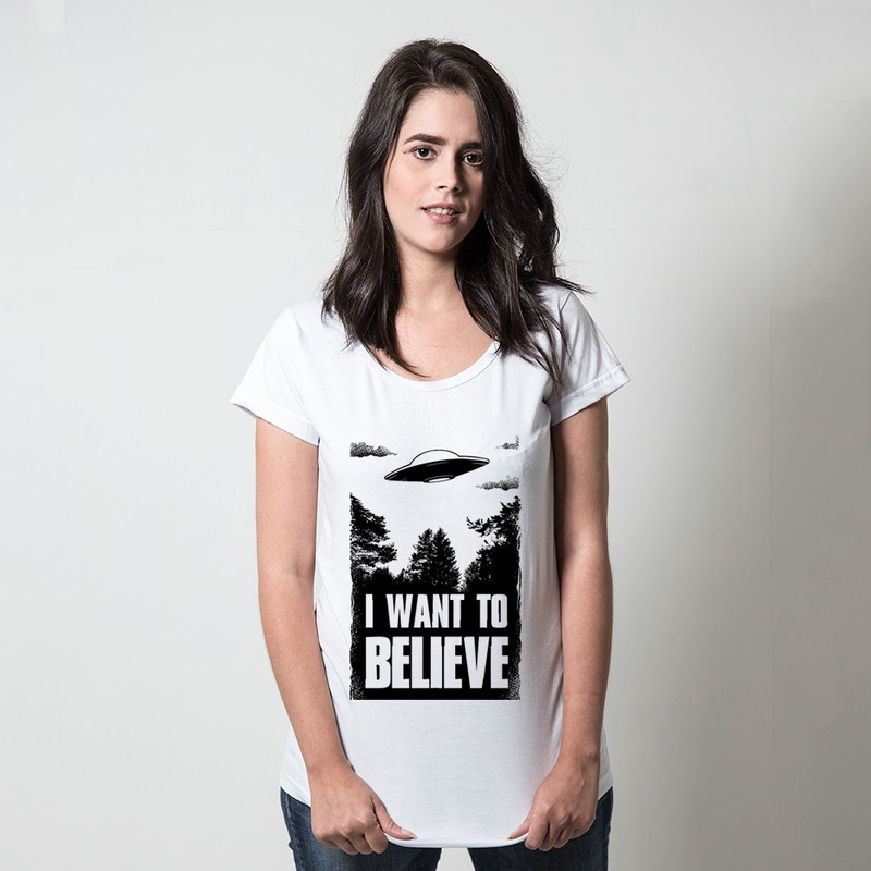 CAMISETA BRANCA - I WANT TO BELIEVE