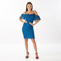 Vestido corto azul encaje con tirantes  014487