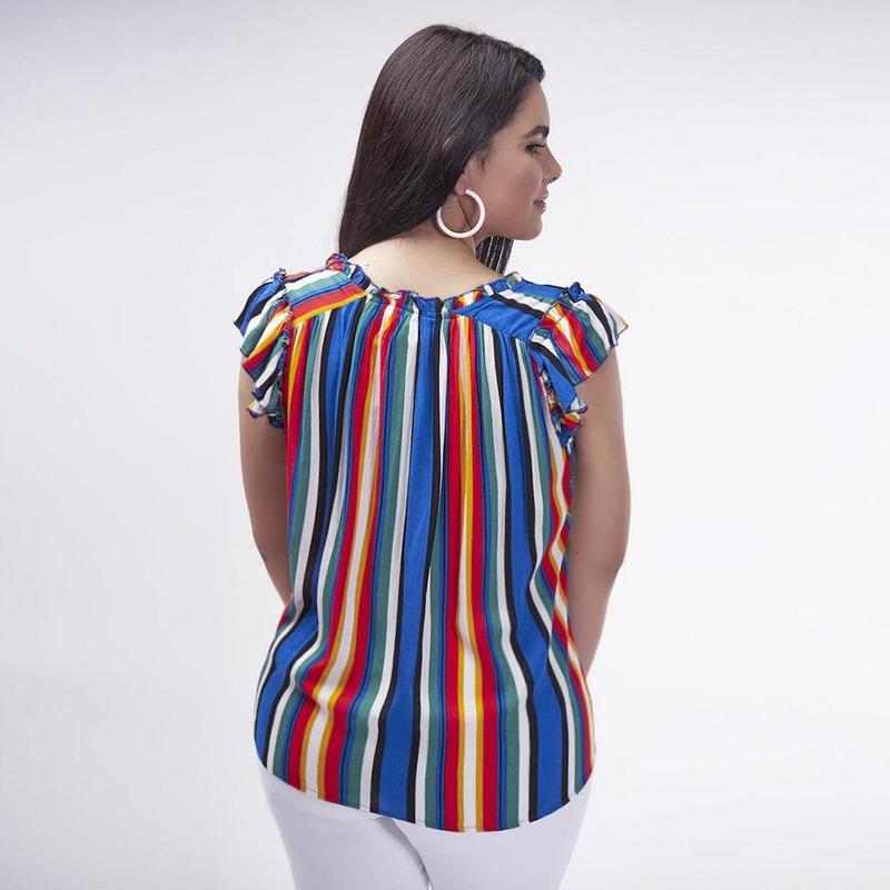 Blusa Multicolor A Lineas 017323