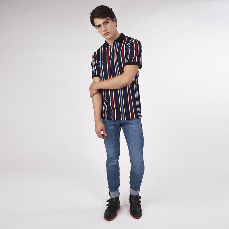 Camisa Marino Con Líneas Multicolor 019262